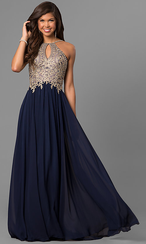 Image of black long junior prom dress with beaded bodice. Style: DJ-5011 Detail Image 1