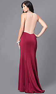 Image of formal form-fitting long illusion-back dress.  Style: DJ-5056 Back Image