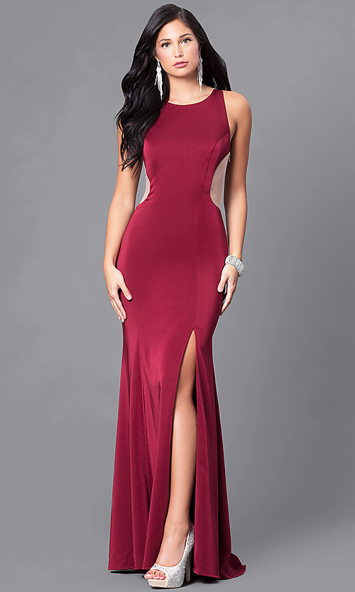 Image of formal form-fitting long illusion-back dress.  Style: DJ-5056 Front Image