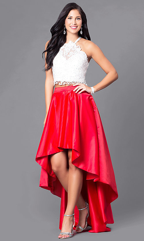 Image of high-low two-piece formal lace-bodice dress.  Style: DJ-A4825 Front Image