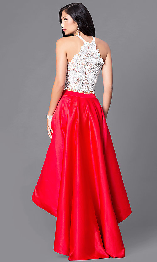 Image of high-low two-piece formal lace-bodice dress.  Style: DJ-A4825 Back Image