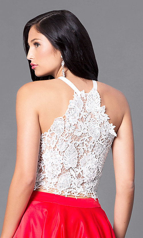 Image of high-low two-piece formal lace-bodice dress.  Style: DJ-A4825 Detail Image 2