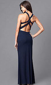 Image of empire-waist sweetheart long formal dress.  Style: DJ-A5043 Back Image