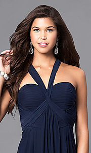 Image of empire-waist sweetheart long formal dress.  Style: DJ-A5043 Detail Image 1