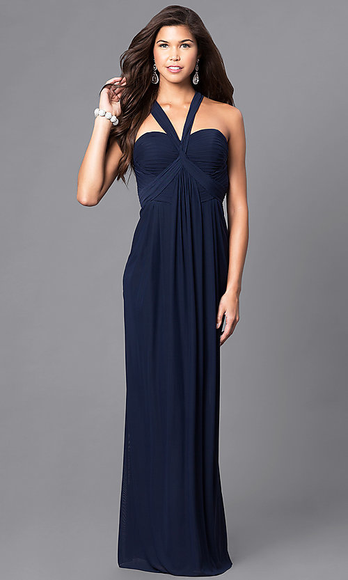 Image of empire-waist sweetheart long formal dress.  Style: DJ-A5043 Front Image