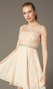 Image of short lace-bodice v-back semi-formal party dress. Style: DQ-9659 Detail Image 5