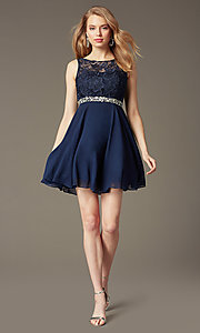 Image of short lace-bodice v-back semi-formal party dress. Style: DQ-9659 Front Image