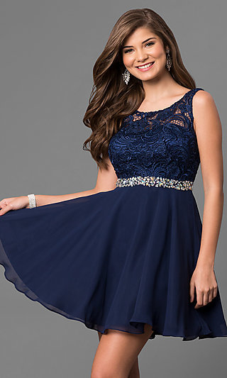 Short Lace-Bodice V-Back Semi-Formal Party Dress