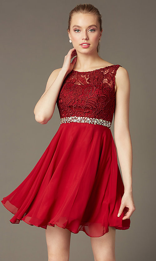 Image of short lace-bodice v-back semi-formal party dress. Style: DQ-9659 Detail Image 2