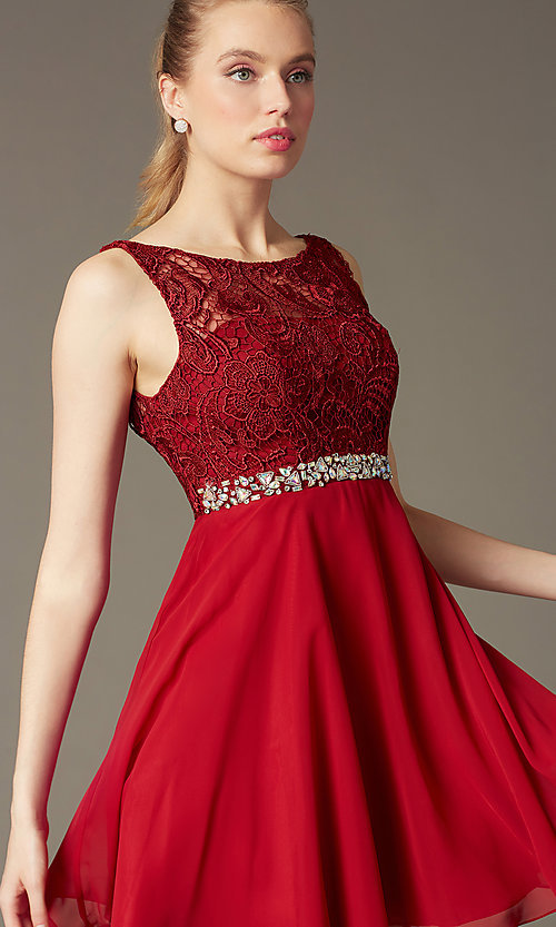 Image of short lace-bodice v-back semi-formal party dress. Style: DQ-9659 Detail Image 4