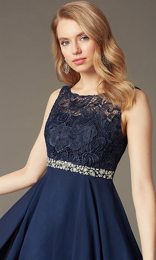 Image of short lace-bodice v-back semi-formal party dress. Style: DQ-9659 Detail Image 1