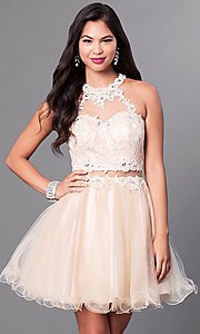 Image of semi-formal mock two-piece high-neck dress. Style: DQ-9631 Front Image