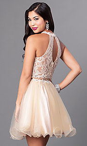 Image of semi-formal mock two-piece high-neck dress. Style: DQ-9631 Back Image