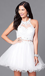 Image of semi-formal mock two-piece high-neck dress. Style: DQ-9631 Detail Image 2