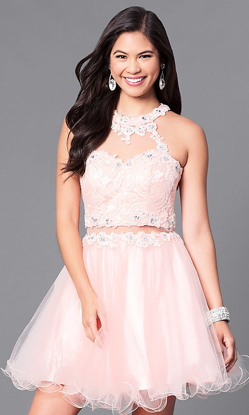 Image of semi-formal mock two-piece high-neck dress. Style: DQ-9631 Detail Image 1