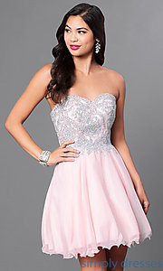 Image of corseted short semi-formal homecoming dress.  Style: DQ-9596 Front Image
