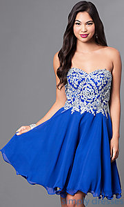Image of corseted short semi-formal homecoming dress.  Style: DQ-9596 Detail Image 1
