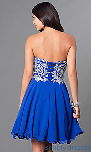 Image of corseted short semi-formal homecoming dress.  Style: DQ-9596 Back Image