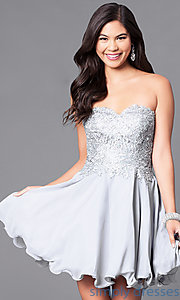 Image of corseted short semi-formal homecoming dress.  Style: DQ-9596 Detail Image 2