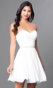 Image of laced-corset strapless sweetheart semi-formal dress.  Style: DQ-9581 Detail Image 2