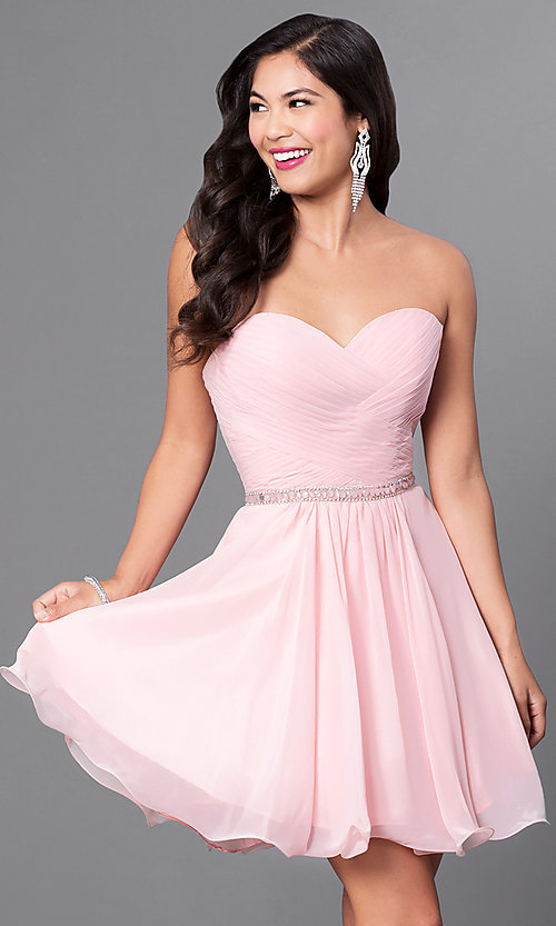 Image of laced-corset strapless sweetheart semi-formal dress.  Style: DQ-9581 Detail Image 3