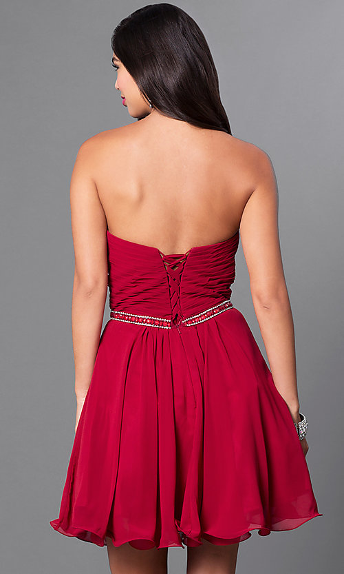 Image of laced-corset strapless sweetheart semi-formal dress.  Style: DQ-9581 Back Image