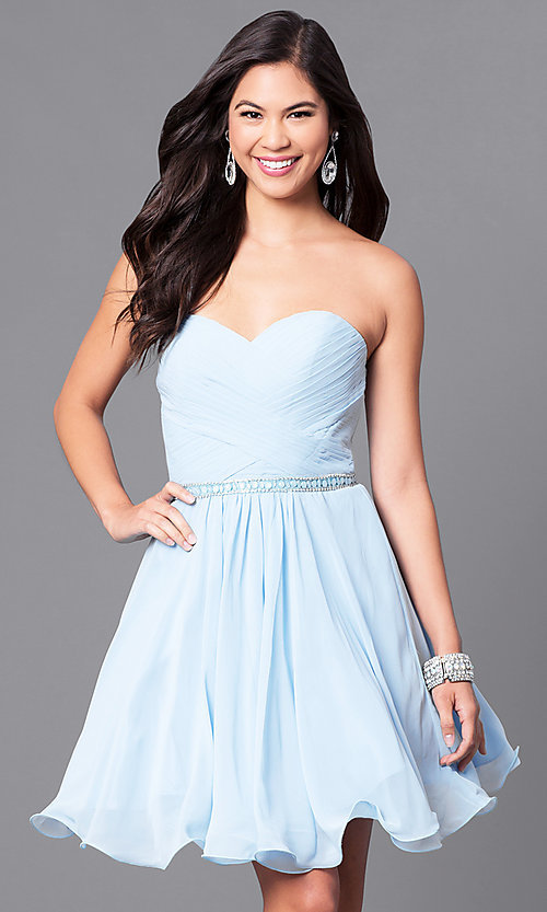 Image of laced-corset strapless sweetheart semi-formal dress.  Style: DQ-9581 Detail Image 1