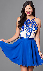 Image of a-line spaghetti-strap short homecoming dress. Style: PO-7866 Detail Image 3