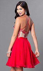 Image of a-line spaghetti-strap short homecoming dress. Style: PO-7866 Detail Image 1