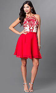 Image of a-line spaghetti-strap short homecoming dress. Style: PO-7866 Detail Image 2