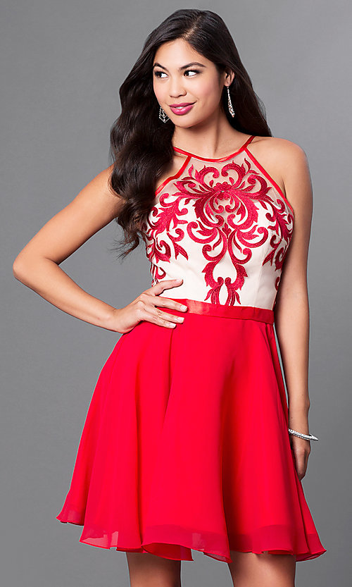 Image of a-line spaghetti-strap short homecoming dress. Style: PO-7866 Front Image