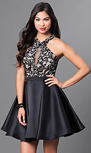 Image of homecoming party dress with high-neck lace bodice. Style: PO-7870 Front Image