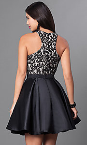 Image of homecoming party dress with high-neck lace bodice. Style: PO-7870 Back Image