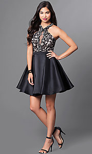Image of homecoming party dress with high-neck lace bodice. Style: PO-7870 Detail Image 1