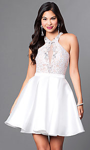 Image of homecoming party dress with high-neck lace bodice. Style: PO-7870 Detail Image 2