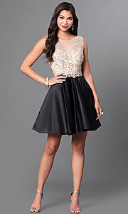 Image of short homecoming party dress with embellished lace. Style: PO-7495 Detail Image 1