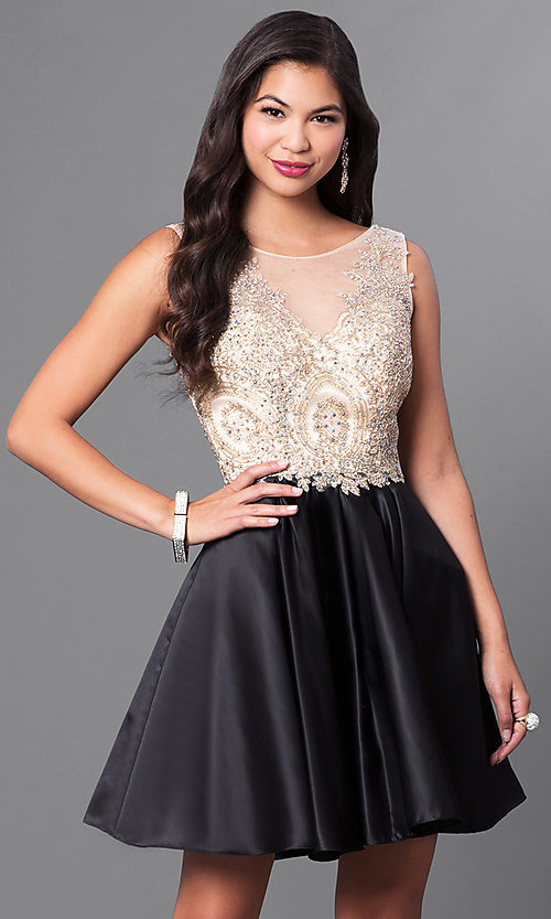 Image of short homecoming party dress with embellished lace. Style: PO-7495 Front Image