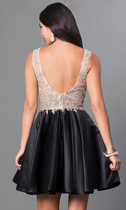 Image of short homecoming party dress with embellished lace. Style: PO-7495 Back Image