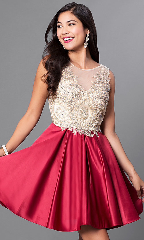 Image of short homecoming party dress with embellished lace. Style: PO-7495 Detail Image 3