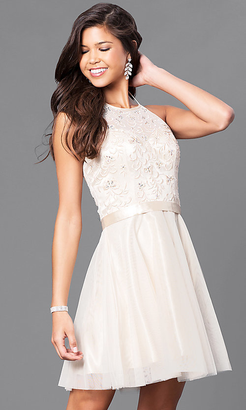 Image of sleeveless halter dress with embroidered bodice. Style: FB-GS1465 Detail Image 1