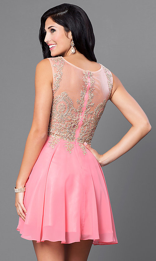 Image of short party dress with beaded illusion bodice. Style: FB-GS1336 Back Image