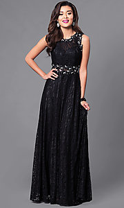Image of sheer-waist floor-length lace dress.  Style: FB-GL1460 Front Image