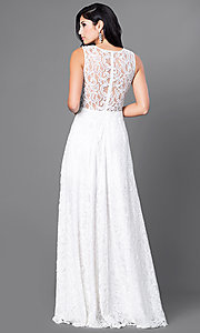 Image of sheer-waist floor-length lace dress.  Style: FB-GL1460 Back Image