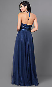 Image of embroidered Elizabeth K long formal halter dress. Style: FB-GL1475 Back Image