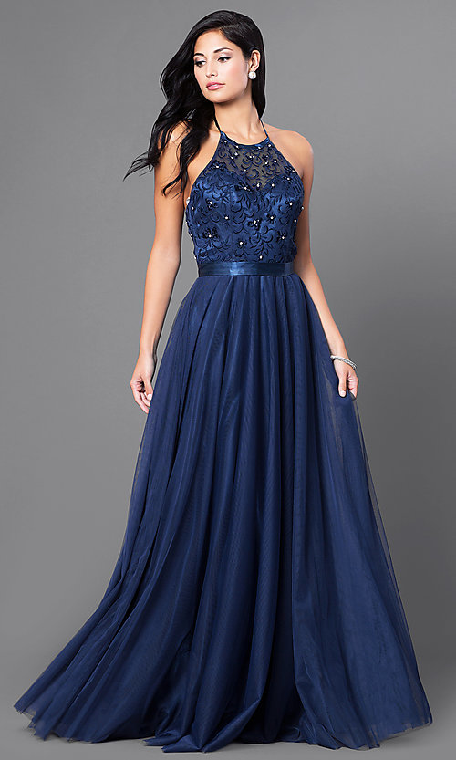 Image of embroidered Elizabeth K long formal halter dress. Style: FB-GL1475 Front Image