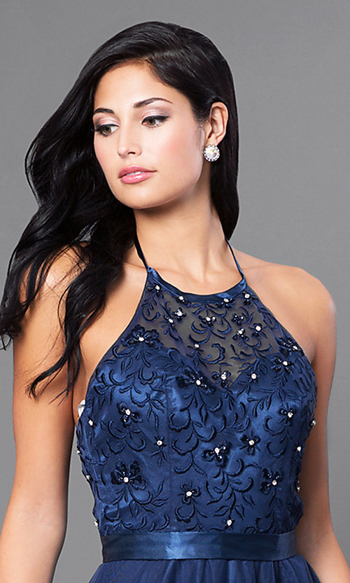 Image of embroidered Elizabeth K long formal halter dress. Style: FB-GL1475 Detail Image 1