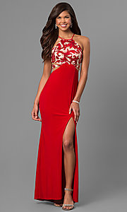 Image of long formal red prom dress with illusion cut outs. Style: DMO-J315456 Front Image