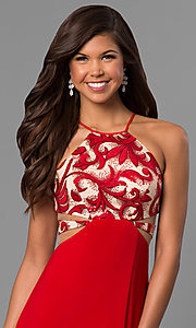 Image of long formal red prom dress with illusion cut outs. Style: DMO-J315456 Detail Image 1