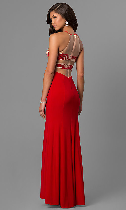 Image of long formal red prom dress with illusion cut outs. Style: DMO-J315456 Back Image