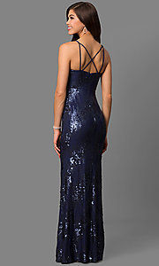 Image of long navy blue prom dress with sequins. Style: DMO-J315156 Back Image